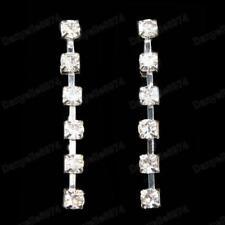 "CRYSTAL EARRINGS 1.5"" drop SPARKLY silver fashion stud DIAMANTE glass rhinestone"