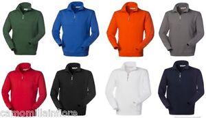 on sale e3b76 12b81 Dettagli su FELPA Collo Alto con Zip Uomo Cotone Manica Lunga Rossa Blu  Cina Nero Arancione