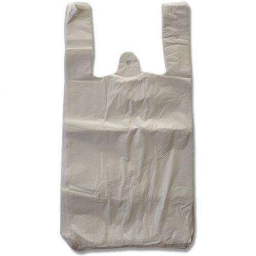 2000 x 25+12x45 cm HDPE furibonda BORSE cartocci bianco sacchetto per chiosco tavola calda