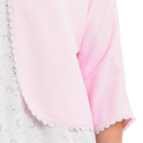Bed Jacket Slenderella Womens Ribbon Tie Lace Collar Mock Quilted House Coat