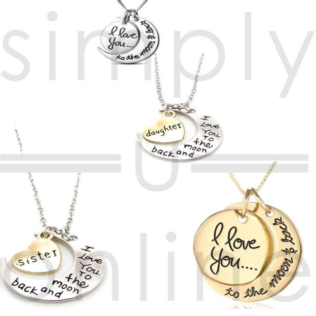 """Vintage Anhänger Halskette """"Ich liebe dich bis zum Mond und zurück"""""""