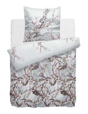 Bettwäschegarnituren Bettwäsche Hnl Bettwäsche Pure Cotton Zeno Blau Chalk Blue Baum Blüten Brücke Nebel Einfach Zu Reparieren