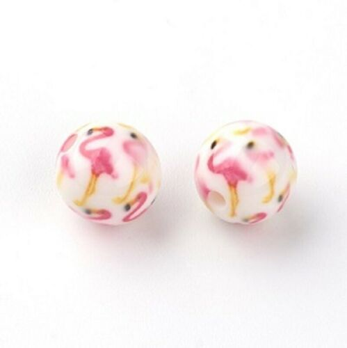 Flamingo Bead 10mm Round Resin Pack of 10