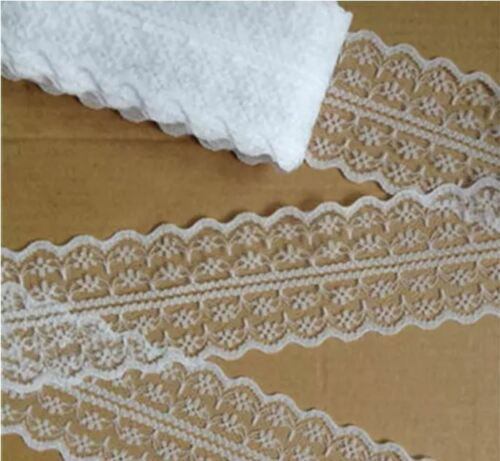 2 in. Width Net Floral US seller 10 Yards Bilateral Lace Trim WHITE 4.5 cm