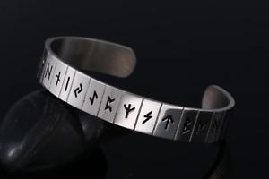 Viking Norse Brazalete Pulsera runas Talismán Acero Inoxidable Plata Ajustable