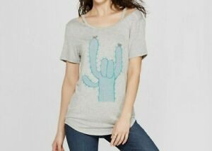 51156e8a066 Zoe+Liv Women's Grey Cactus Rock & Roll Cold Shoulder Short-Sleeve T ...