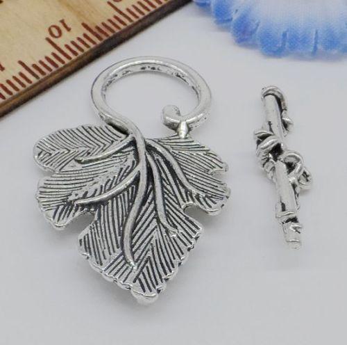 Free 5 sets Argent//Or//Cuivre Bronze Leaf Connector Toggle fermoirs pour bracelet