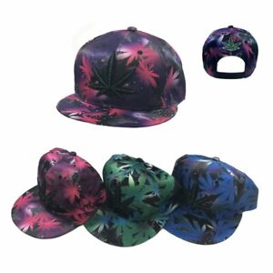 cb43df0b5 Details about Galaxy Marijuana Weed Leaf Snapback Hat 420 Themed Cap