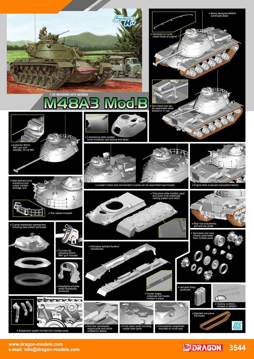 Dragon 1 35 3544 M48A3 Mod.B tank