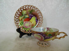 LEFTON JAPAN FOOTED TEA CUP & SAUCER RETICULATED SET HAND PAINTED FRUIT