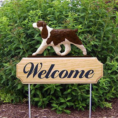 English Springer Spaniel Dog Breed Oak Wood Welcome Outdoor Yard Sign Liver