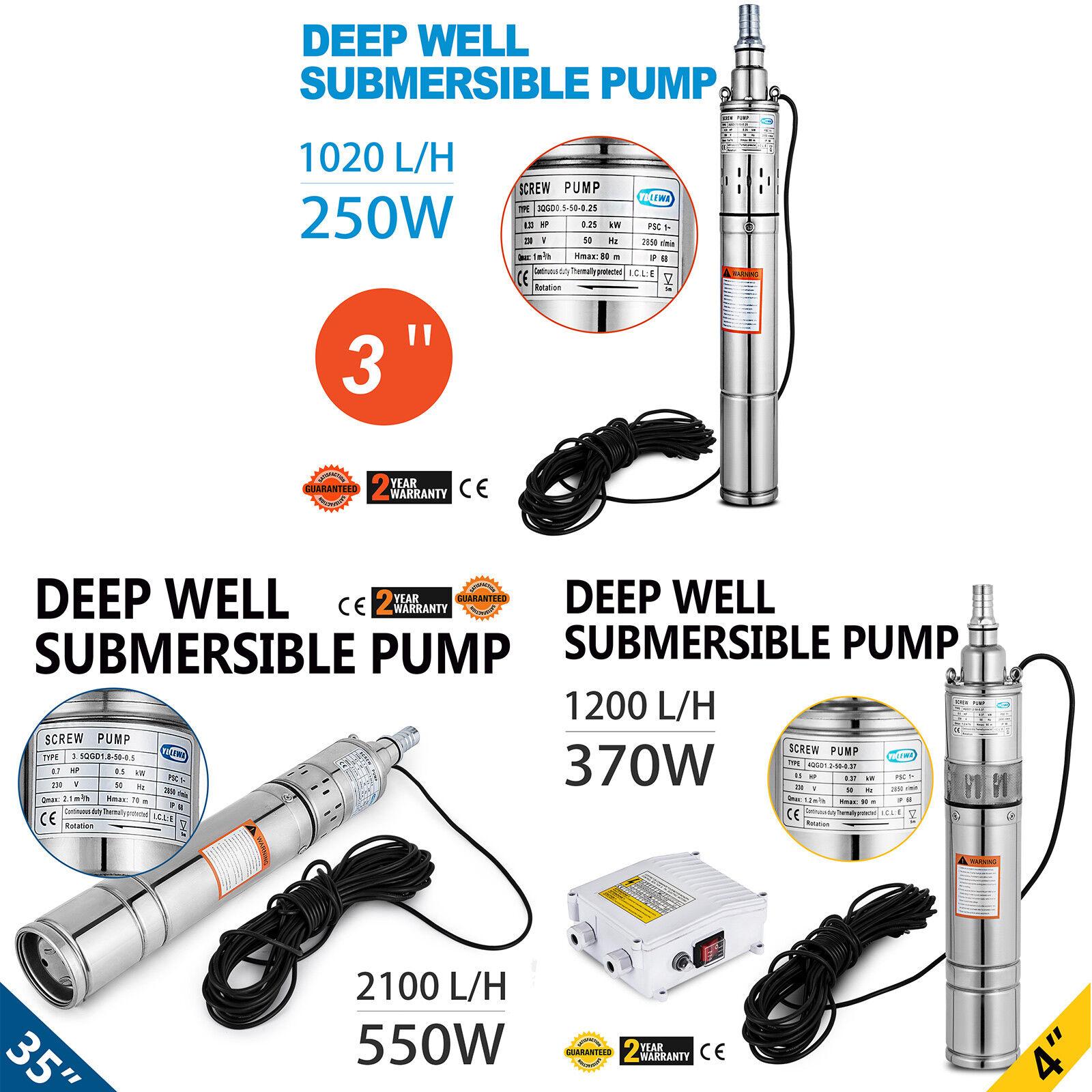 0.33 0.5 0.7 HP 3  4  3.5  de sondeos pozos profundos Bomba sumergible Agua + Cable