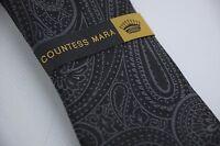 Countess Mara Thick Woven Black Gray Ornate Paisley Silk Tie