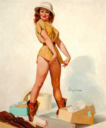 /'FIT TO KILL/' 1965 GIL ELVGREN VINTAGE PIN UP GIRL SAFARI POSTER PRINT 43x36