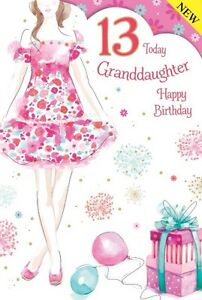 Image Is Loading Granddaughter 13 13th Birthday Card Modern Lovely