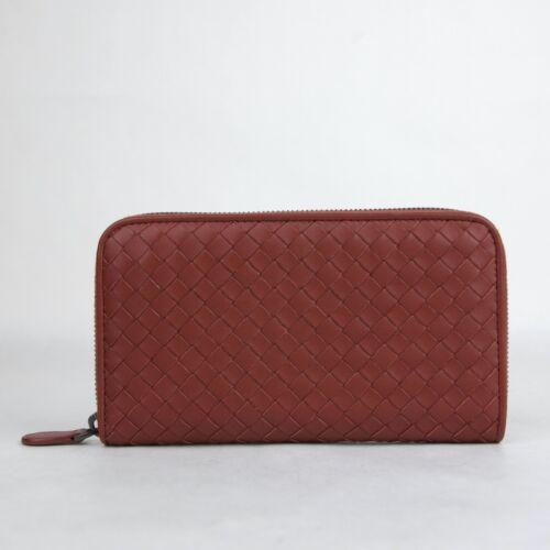 Bottega Veneta Women/'s Brick Red Leather Woven Zip Around Wallet 132358 6332