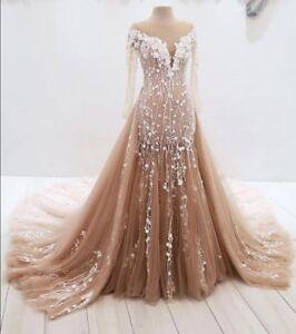 Image Is Loading Liques Tulle Mermaid Wedding Dress Long Sleeve Detachable