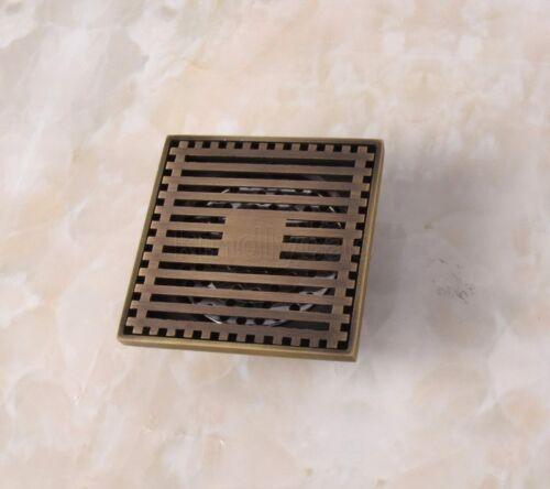 Antique Brass Square Bathroom Floor Drain Square Grate Waste Drainer Khr034