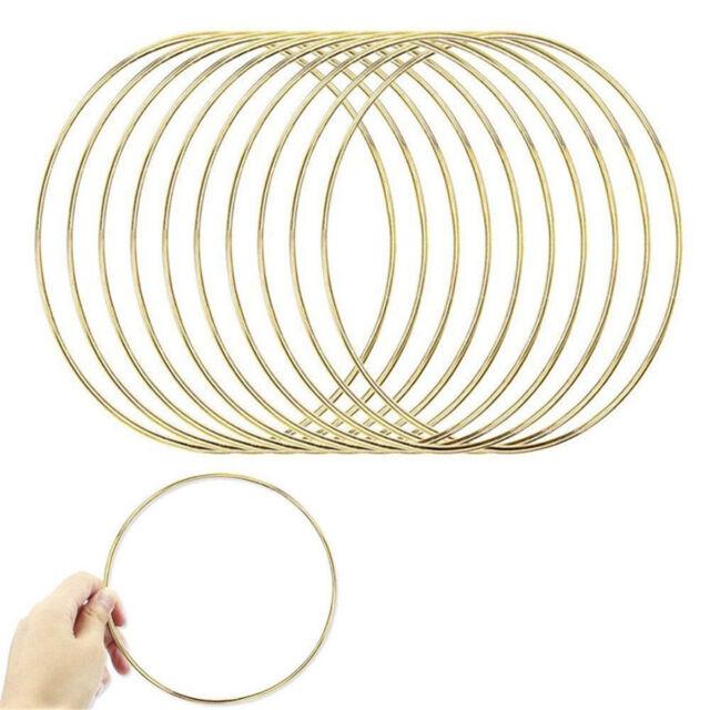 """Gold Toned 6/"""" Macrame Metal Ring Hoop Brass SET OF 10"""