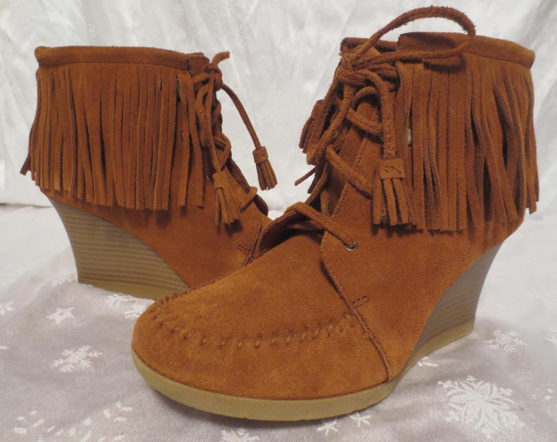 NEW   MINNETONKA Women Women Women CHESTNUT Brown SUEDE FRINGE Wedge Booties BOOTS shoes 8.5 2fdfb5
