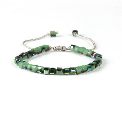 Uhren & Schmuck Liefern Glasperlen Makrame Armband Kristallglas Kristall Grün Verstellbar Eckig Perlen Kann Wiederholt Umgeformt Werden.