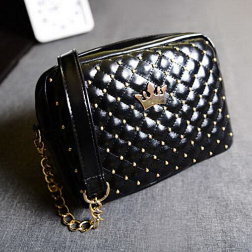 Womens PU Leather Crown Quilted Chain Bag Leather Shoulder Bag Crossbody Handbag