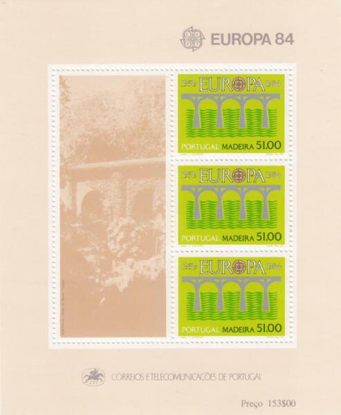 Portugal Madère #94a Neuf Sans Charnière Europa S/s Aqueduc 1984 Cv $5
