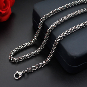 Man-Women-Stainless-Steel-2mm-3mm-4mm-5mm-Silver-Wheat-Braided-Chain-Necklace