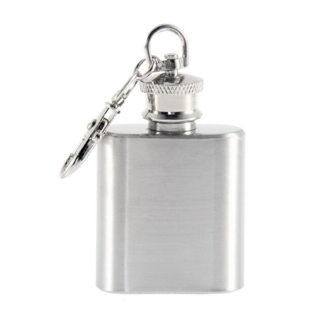 Portable 1oz Mini Stainless Steel Hip Flask Alcohol Flagon with Keychain LO