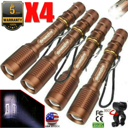 Lots Tactical Zoomable 350000Lumens 5-Mode T6 LED Flashlight Torch Aluminum USA*