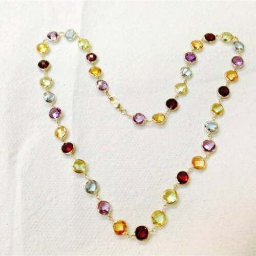 """Details about  /18K Yellow Gold Over Gemstone By The Yard,Round Checker Board Bezel 18/"""" Necklace"""