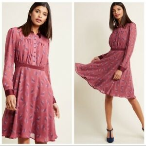Modcloth-Purple-Just-My-Typist-Long-Sleeve-Collared-Fit-amp-Flare-Dress-Size-Small