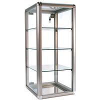 Aluminum Frame - Silver Finish Countertop Showcase - 14lx12wx27h