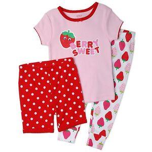 d0653541e0a4c CARTER S SLEEPWEAR PAJAMA GIRLS SET 3 PIECES BERRY SWEET PINK 6 9 12 ...
