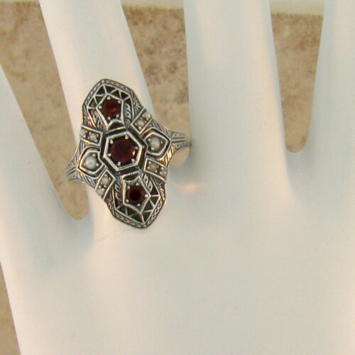 #105 GENUINE GARNET AND PEARL ANTIQUE ART DECO STYLE .925 SILVER RING Sz 10