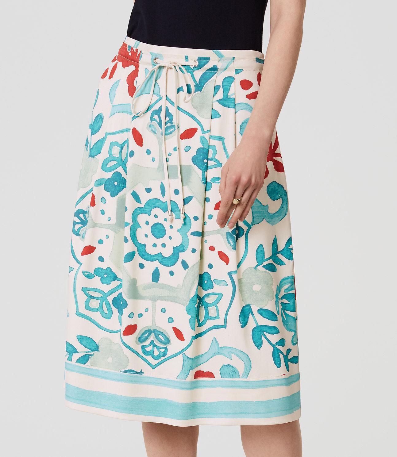 Ann Taylor LOFT - Womens 00 (XXS) Floral Print Pull-on Drawstring Skirt