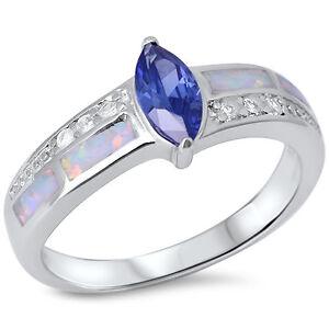 Tanzanite White Opal /& Cz .925 Sterling Silver Ring Sizes 5-10