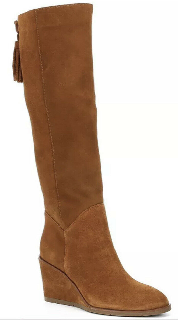 ANTONIO MELANI ALL LEATHER BOOT SOFT SUEDE WEDGE HEEL. RICH CARAMEL COLOR 7.5