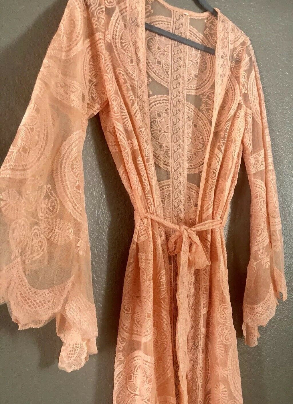 Boho Style Lace Kimono Swimwear Cover Up Peach XL
