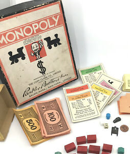 Monopoly 1936 Mini Box Orig Purse Token Wood Houses Copp Clark