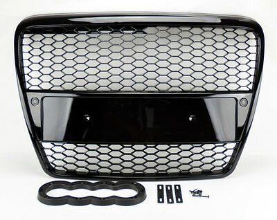 Audi A6 S6 05-07 RS Style Gloss Black Mesh Front Hood Bumper Grill