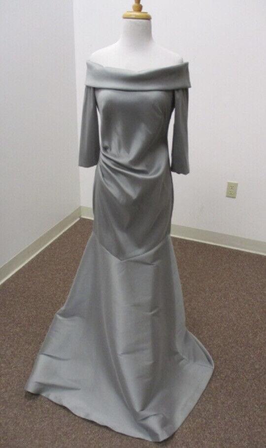 NWT Theia Couture Sz 8 Silvery Gray 'Nebbia' 3/4 Sleeve Mermaid Gown W/ Stretch