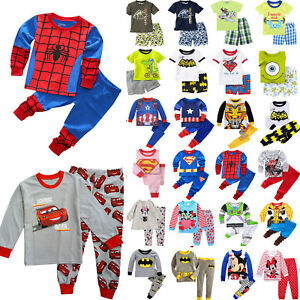 f59f429f20489 Details about Kids Baby Boys Girls Cartoon Pjs Pajamas Outfit Sleepwear  Clothes Sets Homewear