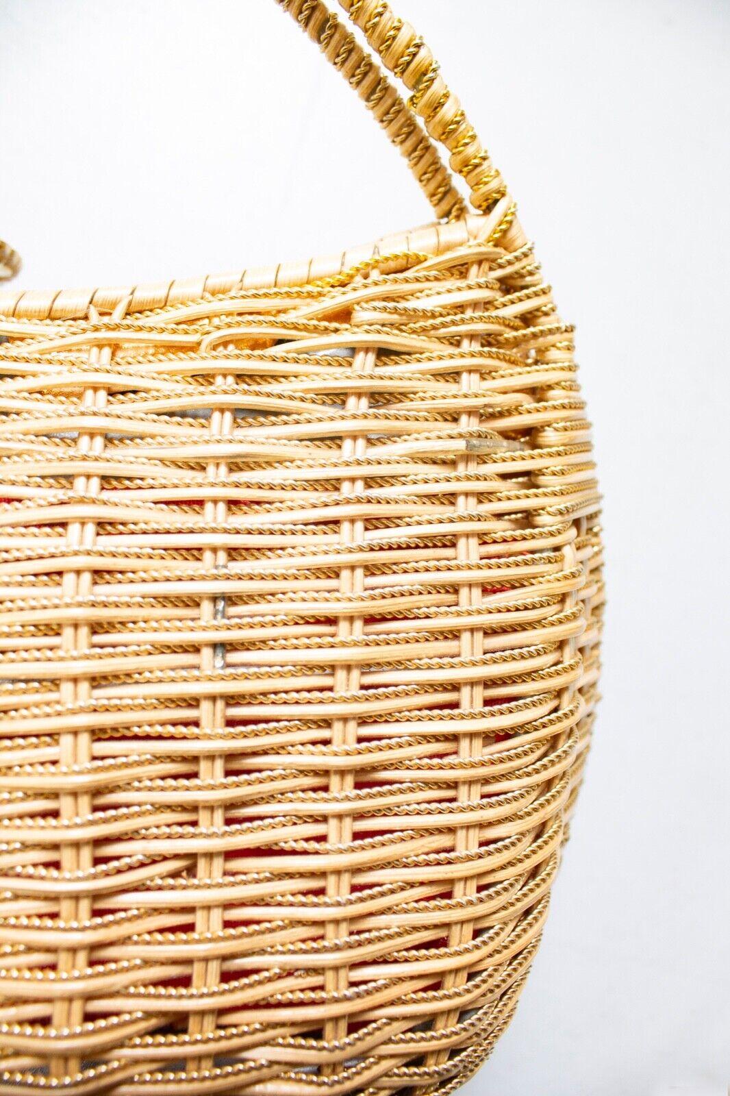 Vintage Basket Purse 1960s Gold Metal Woven Wicke… - image 6
