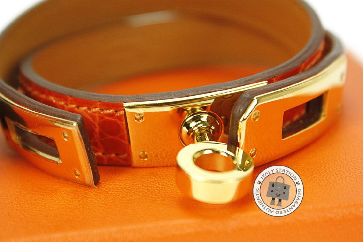 Hermes Kelly Double Tour orange Shiny Crocodile Small Bracelet Ghw - Authentic