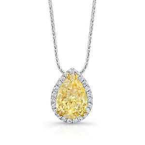 18kt fancy yellow si 237ct ladies pear shape diamond pendant ebay image is loading 18kt fancy yellow si 2 37ct ladies pear mozeypictures Image collections