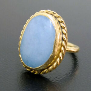 Handmade-Hammered-Large-Aquamarine-Ring-Gold-over-925-Sterling-Silver