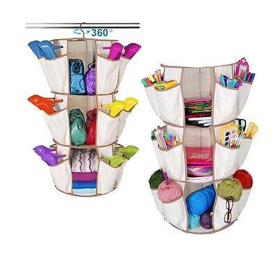 3 Tier Multi Pocket Hanging Smart Carousel Organizer Storage Closet Shoe Handbag