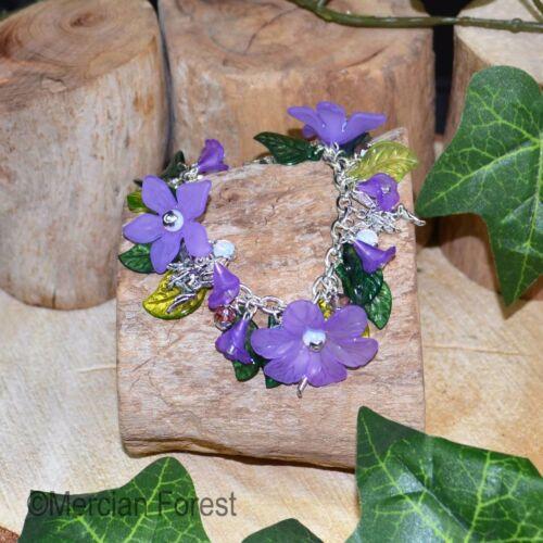 Purple Petal Fairy Charm Bracelet
