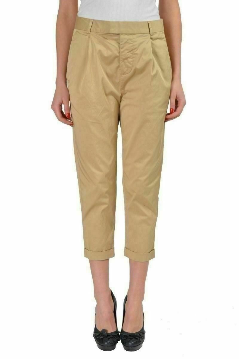 Dsquared2 Beige Pleated Front Cropped Women's Casual Pants US 4 IT 40